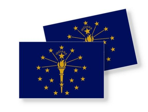 Set of 2 Stickers INDIANA STATE FLAG STICKERS Choose Size Vinyl Decal