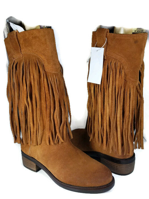 Sz 6 NEW  defect LUCKY BRAND Boots brown Oiled Suede CALEB Fringe pull-on
