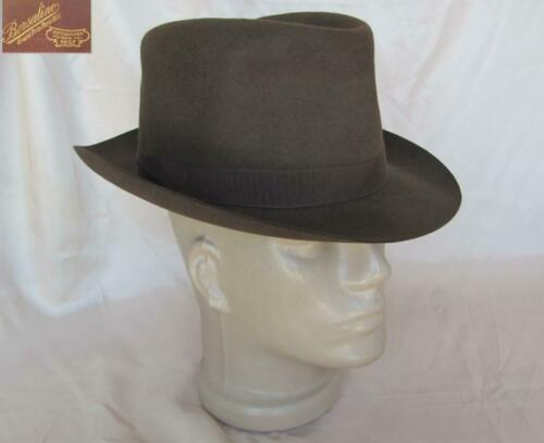 VINTAGE 1930s ITALIAN BROWN MEN FELT FEDORA HAT -