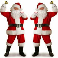 Mens 8 Piece Deluxe Father Christmas Santa Claus Fancy Dress Costume Outfit M-XL
