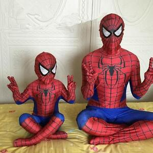 Christmas Party Boy Spiderman Costume Kids Superhero Cosplay Bodysuit Men#