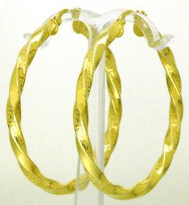 14-K-Damen-Creolen-Ohrringe-585-er-Gold-Gelbgold-gedreht-mit-Maeander-Muster-Neu