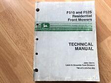 John Deere F510 F525 Front Mower Technical Repair Manual Tm1475 Oem