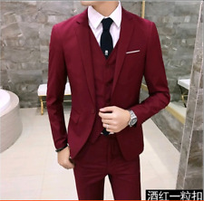 3 pieces men one button slim fit wedding party suits short jacket pants vest E29