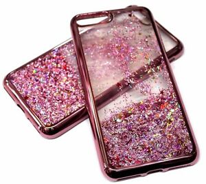 pretty nice c22fe 67193 Details about For iPhone 7+ PLUS - Rose Gold Trim Pink Glitter Stars  Sparkle Liquid Water Case