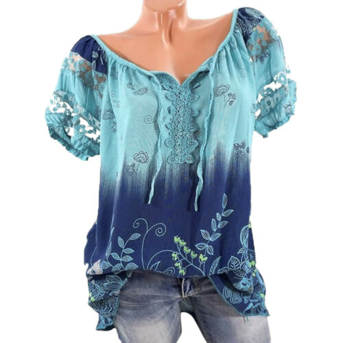Women/'s Hollow Short Sleeve V-Neck Lace Floral Tops Loose T-Shirt Blouse Summer