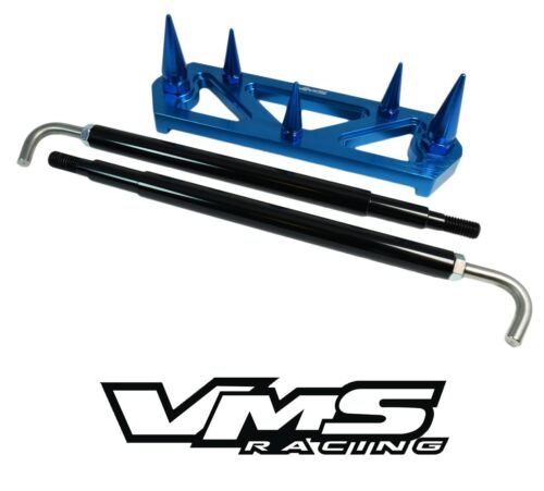 VMS RACING BLUE SPIKED BATTERY TIE DOWN BRACKET BRACE KIT W// RODS FOR HONDA