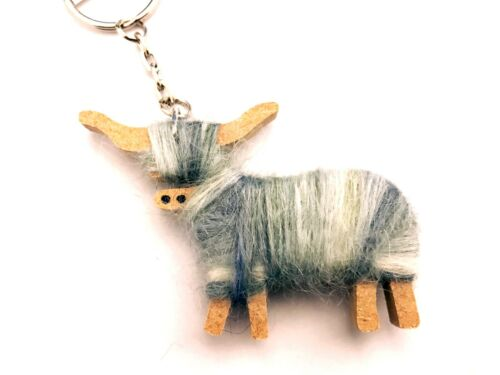Silver Handmade Scottish Hairy Coo Highland Cow Woolly Keyring