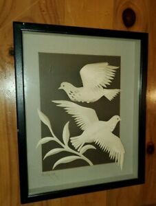 Jack-Eisner-Three-Dimensional-Paper-Sculpture-of-Love-Birds-Shadowbox-Signed