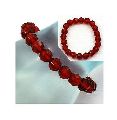 Ruby Red Beaded Stretch Bracelet ~ Hat Society Fun Just Add a Charm