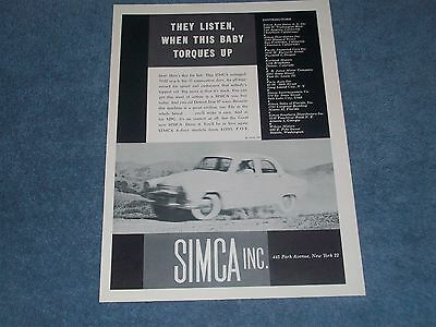 """1958 Simca Aronde Vintage Ad """" They Listen, Wenn Dieses Baby Moment Up ZuverläSsige Leistung"""