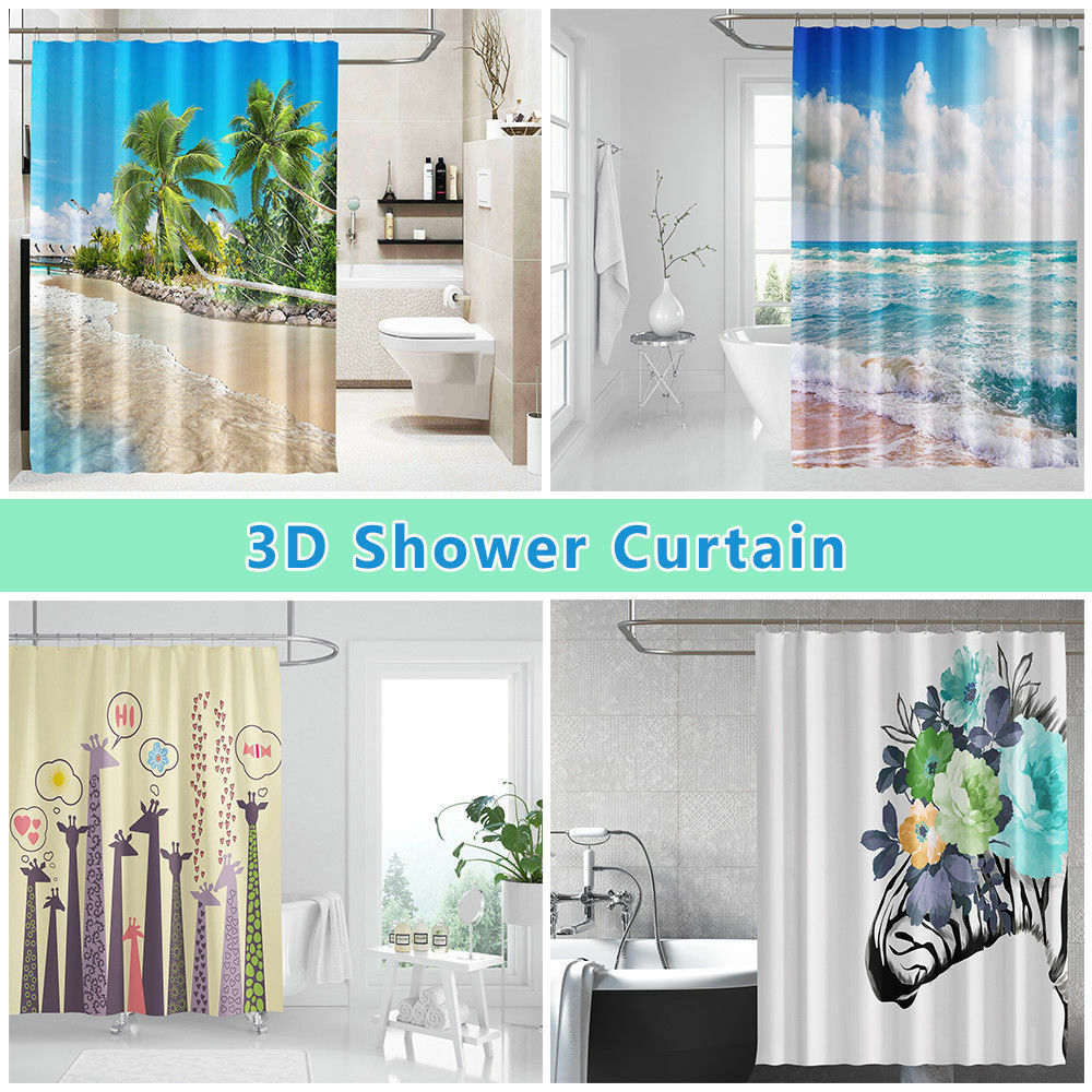 3d Nette Giraffe 9 Duschvorhang Wasserdicht Faser Bad Daheim Window Toilette De Window Treatments & Hardware Shower Curtains