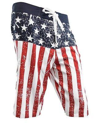 USA Flag Painted American Patriot Beach Mens Summer Swim Board Shorts MBXUPB