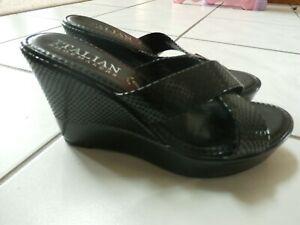 Italian-Shoemakers-Sandal-Slides-Mules-Black-patent-Leather-Open-Toe-Wedge-Sz-8