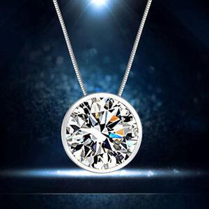 Damen 925 Silber Sterling Runden klaren Cubic Zirkonia Anhänger Für Halskette