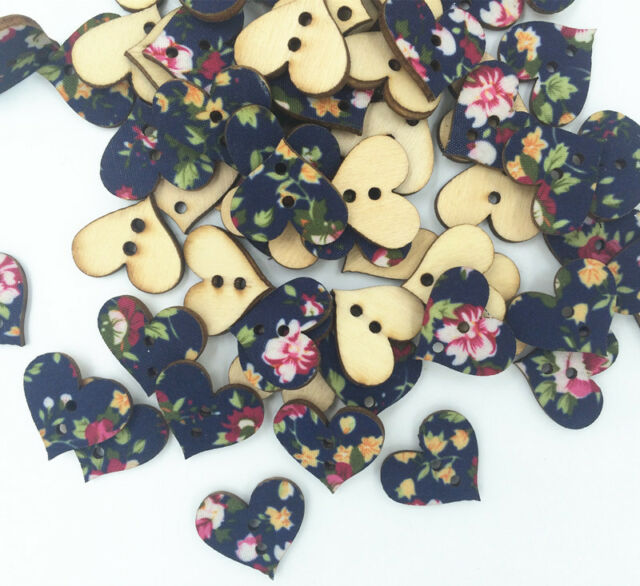 DIY 30-100 pcs pasted cloth Mixed Wood Sewing Buttons Heart 2 Holes Painted 18mm