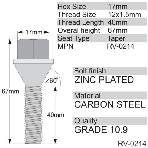 4x M12 X 1.5 40mm hilo 17mm Hex Aleación Pernos de rueda zinc M12x1.5 Asiento Cónico