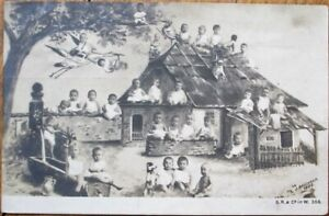 Multiple-Baby-1905-Realphoto-Postcard-Babies-around-Cottage-French-Fantasy