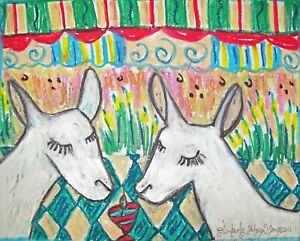 Saanen-drinking-a-Martini-Original-9-x-12-Painting-by-Artist-KSams-Goat-Folk-Art