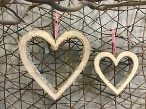Parlane natural wood and bark hanging heart with red gingham ribbon two sizes