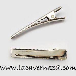 Lot-5-10-20-100-barette-pince-a-cheveux-crocodile-46x8mm-metal-argente-perle-Fim