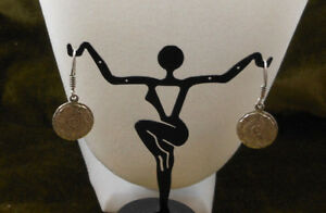 Vintage-Sterling-Earrings-Mexico-Silver-925-Mayan-Calendar-Pierced-Drop