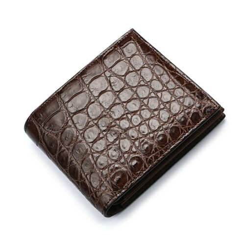 Genuine Crocodile Alligator Belly Skin Leather Man Bifold Brown Portable Wallet