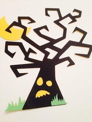 Halloween Tree Spooky Cricut Die Cut, HandMade W/ Card Stock, Scrapbooking