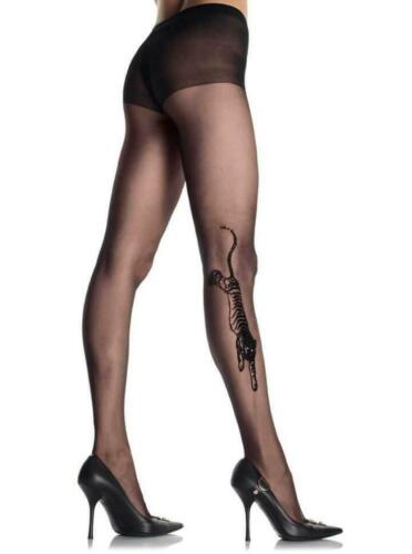 Details about  /Sheer black TIGER TATOO pantyhose Lingerie Junkie Small Medium Large One size