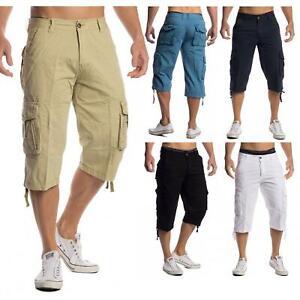 Mens-Shorts-3-4-Loose-Fit-Bermuda-Pants-Short-Summer-Long-Casual-100-Cotton
