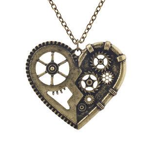 Lux Accessories Burnish Gold Vintage Steampunk Gearwork Heart Charm Necklace u9m37KgCR