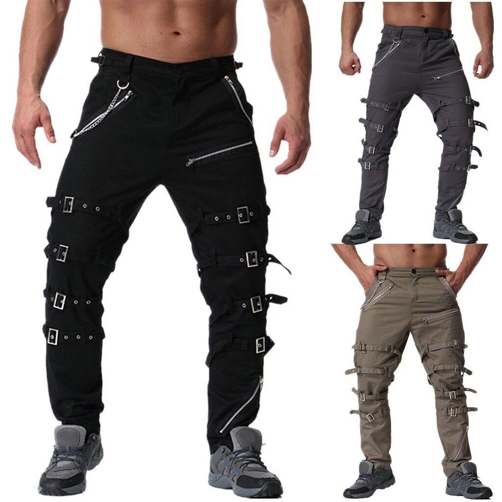 Men's Boys Vintage Cotton Multi Zipper Outdoors Work Trouser Cargo Long Pants L