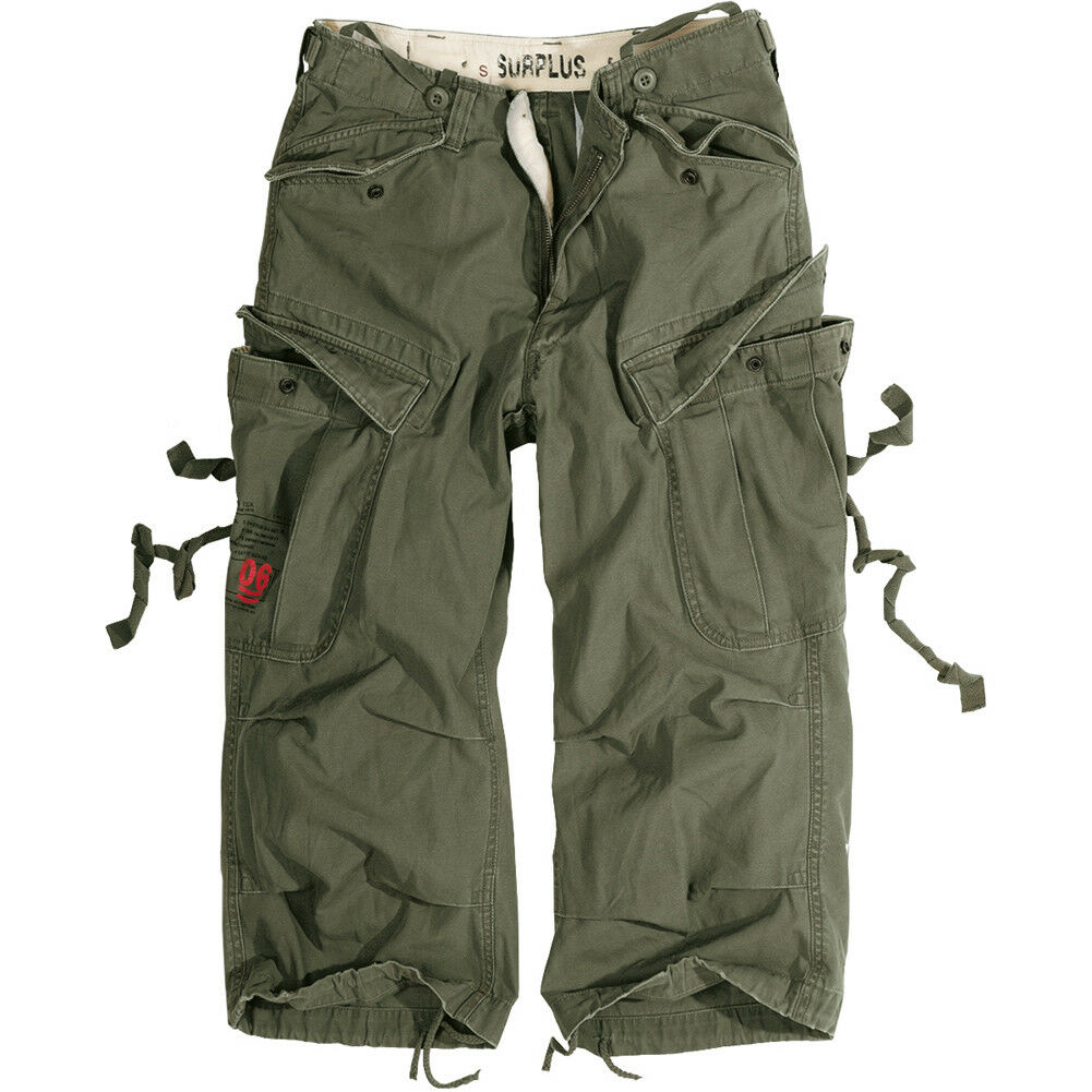 Surplus Engineer Military Vintage Style 3 4 Mens Cargo Combat Long Shorts Olive