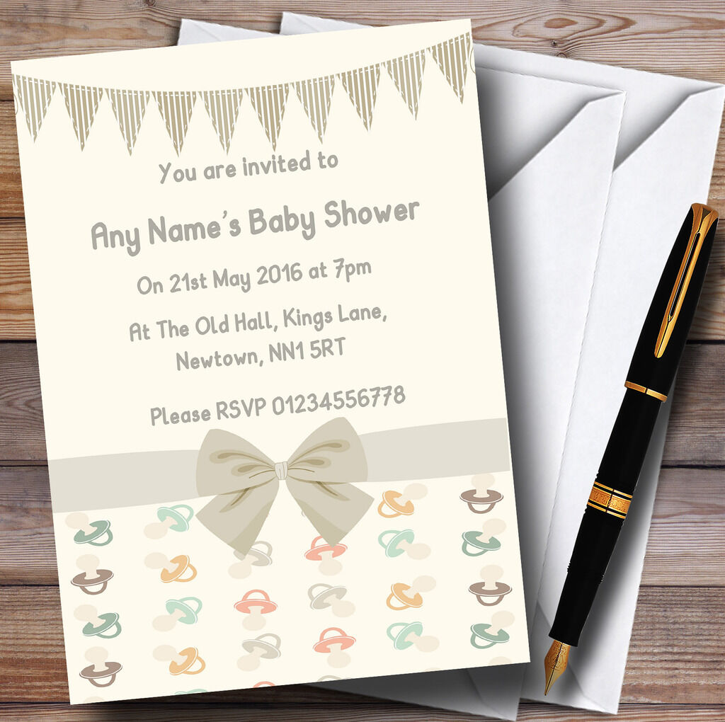 Cream Dummies And Bunting Baby Shower Party Personalised Invitations