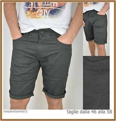 Guy Bermuda Shorts Jeans Corti Da Uomo In Cotone Slim Verde 46 48 50 52 54 56 58