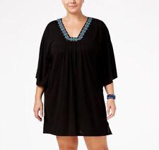 8da5a7c5dd Dotti Swimsuit Cover Up 1x Jewel Embellished Black Flutter Sleeve Plus Size  New