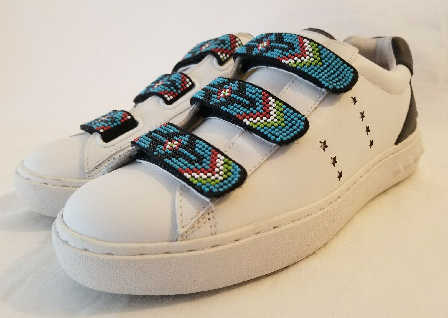 Ash Pharell White & Black Leather Sneakers w  Multicolor Beadwork Straps 37 New