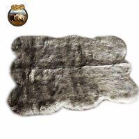 Gray Wolf Faux Fur Area Rug Gray Shaggy Shag Pelt Rug