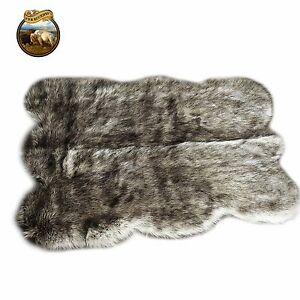gray wolf faux fur area rug gray shaggy shag pelt rug ebay. Black Bedroom Furniture Sets. Home Design Ideas