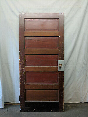 One Large Wood 5 Panel Door Oversized Interior Architectural Salvage 89 Tall Ebay