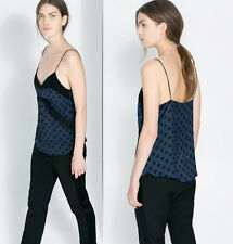 ZARA Blue With Black Dots Lingerie Style Lace Top Details size M