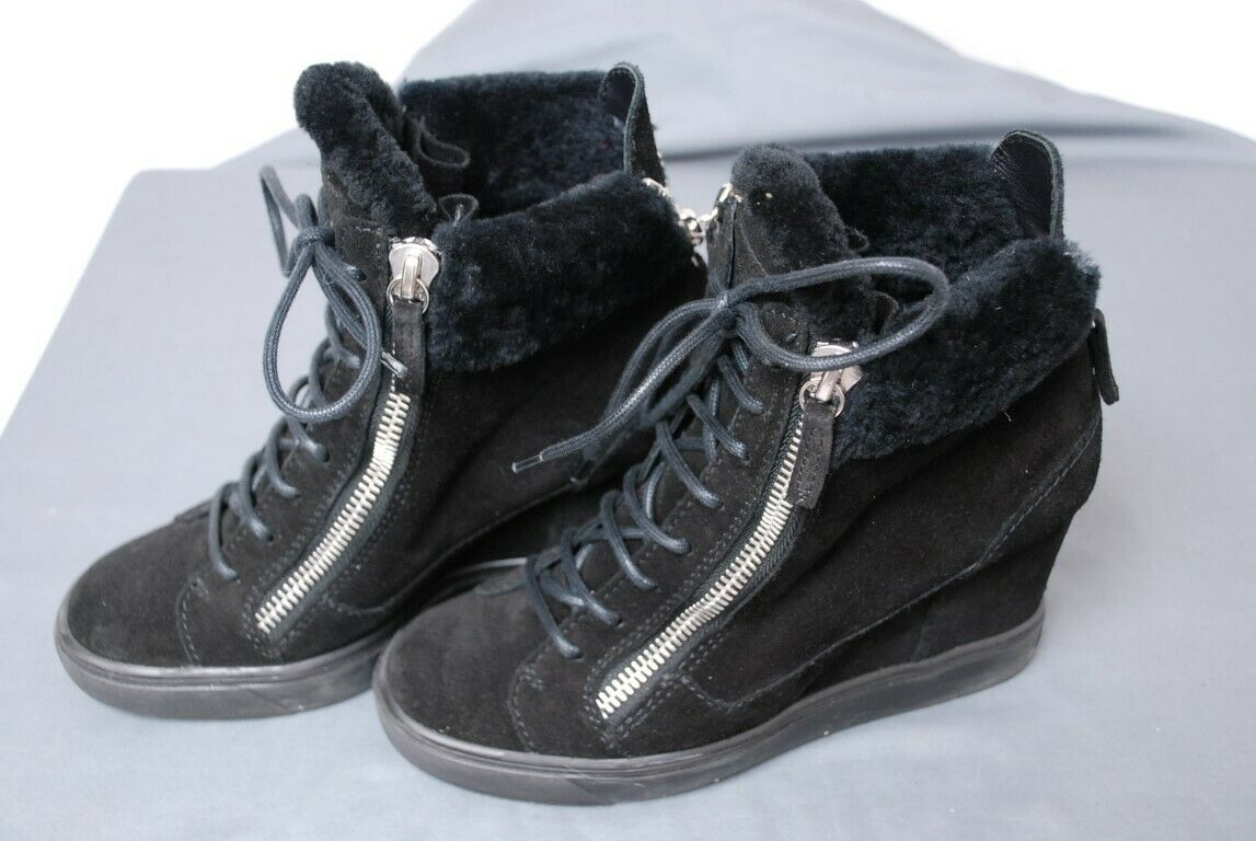 GIUSEPPE ZANOTTI black suede & shearling hidden wedge booties shoes 38 1 2 8 1 2