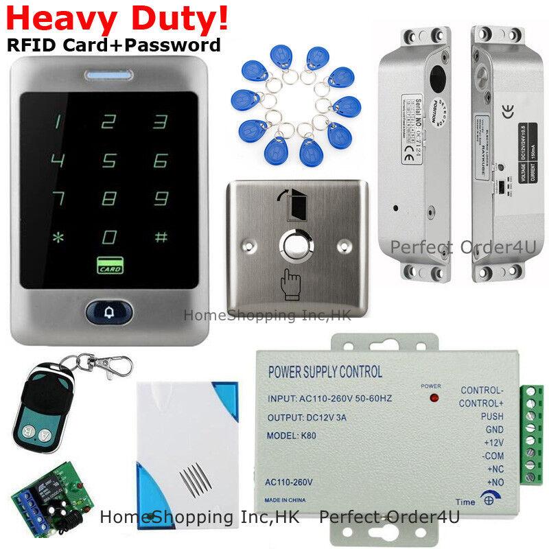 Tarjeta RFID impermeable + contraseña puerta sistema de control de acceso + Caída Perno Cerradura + Control Remoto