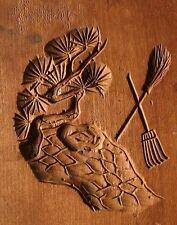 ksg13  ANTIQUE JAPANESE KASHIGATA CAKE MOLD PINE TREE BROOM RAKE WOOD 1895