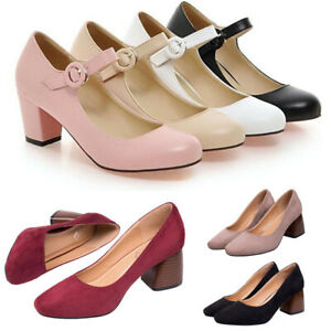 Ladies-Sweet-Ankle-Strap-Mary-Jane-Court-Shoes-Round-Toe-Mid-Block-Heels-Pumps