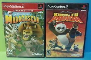 Disney Madagascar + Kung Fu Panda - PS2 Playstation 2 Game Lot Tested + Working