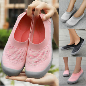 Women-Comfort-Canvas-Shoes-Flats-Slip-On-Plimsolls-Casual-Loafers-Sneakers-Size