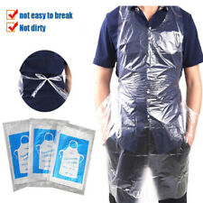 100PC Disposable Plastic Aprons Polythene Aprons Eco Flat Pack White Waterproof