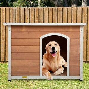 XL Dog House Pinewood Cabin Pet Cozy Nest Shelter Crate Kennel w/ Solid Wood New