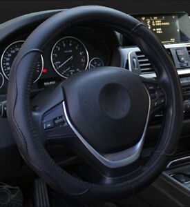 Details about Black PU Leather Car Embossed Steering Wheel Cover Universal  For Four Season